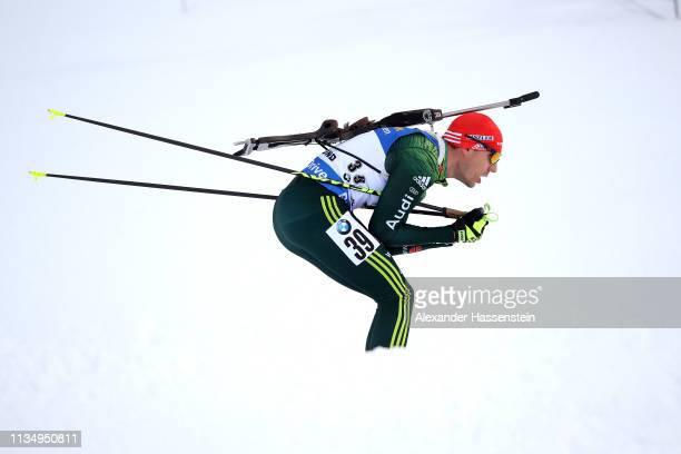 Arnd Peiffer of Germany competes at the IBU Biathlon World Championships Men 10km Sprint at Swedish National Biathlon Arena on March 09, 2019 in...
