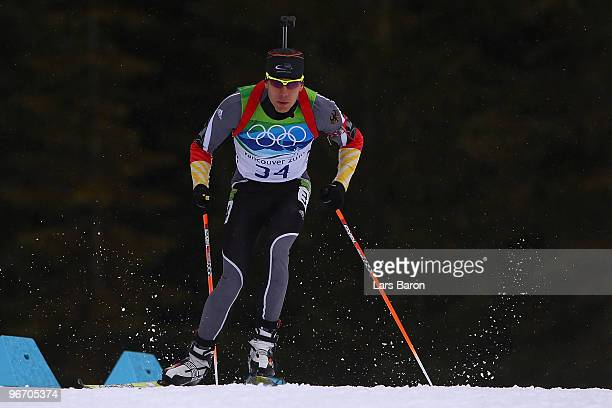 Arnd Peiffer of Germany competes during the Biathlon Men's 10 km Sprint on day 3 of the 2010 Winter Olympics at Whistler Olympic Park Biathlon...