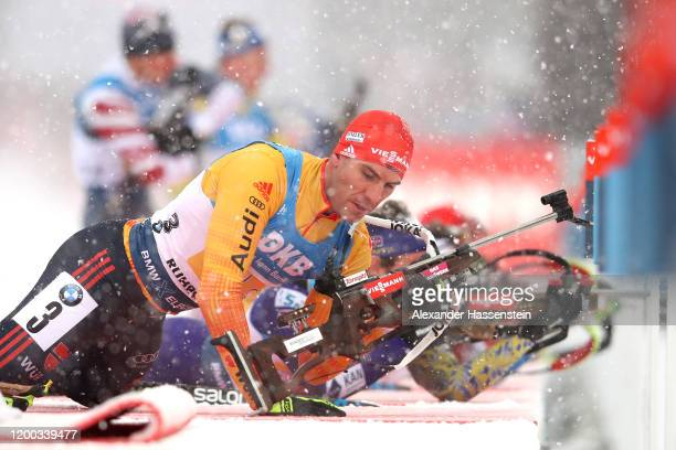 Arnd Peiffer of Germany competes during the Men 4x7.5 km Relay Competition at the BMW IBU World Cup Biathlon Ruhpolding on January 18, 2020 in...