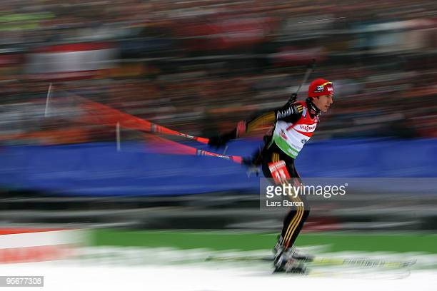 Arnd Peiffer of Germany competes during the Men's 15 km mass start in the e.on Ruhrgas IBU Biathlon World Cup on January 10, 2010 in Oberhof, Germany.