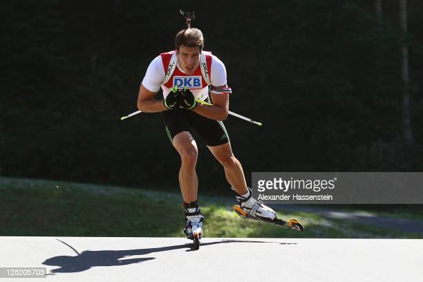 Arnd Peiffer of Germany competes in the men's 20 km individual event during the German Championships at the Chiemgau Arena on September 16, 2011 in...