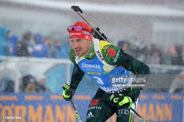 Arnd Peiffer of Germany competes in the Men's Mass Start at the IBU Biathlon World Championships on March 17 2019 in Ostersund Sweden
