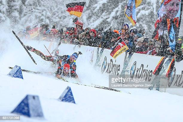 Arnd Peiffer of Germany crashes out, Simon Schempp of Germany crashes out during the IBU Biathlon World Cup Men's and Women's Pursuit on January 15,...