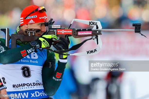 Arnd Peiffer of Germany in action during the IBU Biathlon World Cup Men's and Women's Mass Start on January 20, 2019 in Ruhpolding, Germany.