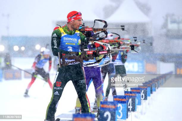 Arnd Peiffer of Germany prepares to shoot on the range in the Men's Mass Start at the IBU Biathlon World Championships on March 17 2019 in Ostersund...