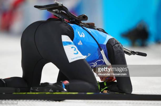 Arnd Peiffer of Germany reacts after finishing fourth during the Biathlon 2x6km Women 2x75km Men Mixed Relay on day 11 of the PyeongChang 2018 Winter...