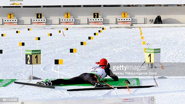 Arnd Peiffer of Germany takes 2nd place during the eon Ruhrgas IBU Biathlon World Cup Men's 125 km Pursuit on January 24 2010 in AntholzAnterselva...