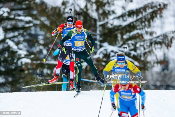 Arnd Peiffer of Germany takes 2nd place during the IBU Biathlon World Cup Men's Relay on January 18, 2019 in Ruhpolding, Germany.