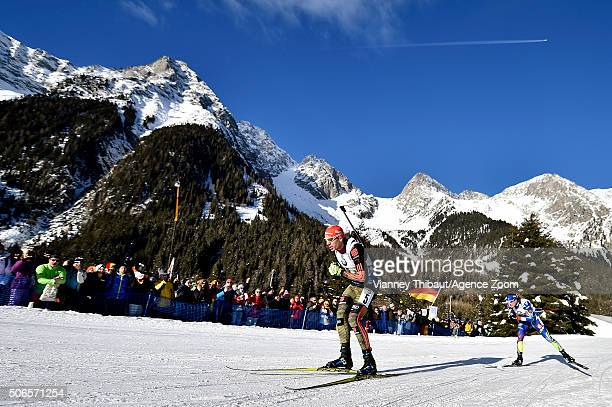 Arnd Peiffer of Germany takes 2nd place during the IBU Biathlon World Cup Men's and Women's Relay on January 24 2016 in AntholzAnterselva Italy