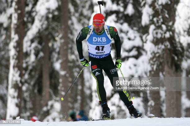 Arnd Peiffer of Germany takes joint 3rd place during the IBU Biathlon World Cup Men's Sprint on January 19 2018 in AntholzAnterselva Italy