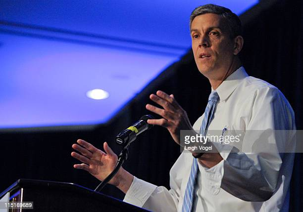 Arne Duncan meets with People for the American Way Foundation's Young Elected Officials Network at the Washington Court Hotel on June 3 2011 in...