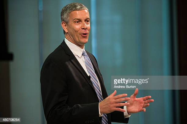 Arne Duncan US Secretary of Education speaks at a press conference announcing that Starbucks will partner with Arizona State University to offer full...