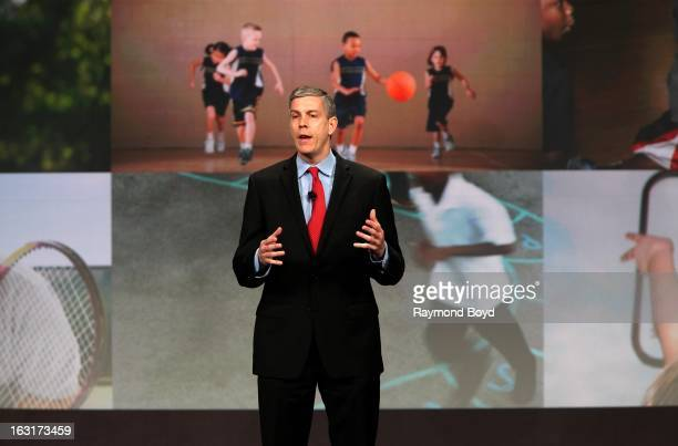 Arne Duncan US Secretary Of Education speaks during opening ceremonies for the Third Anniversary Of Let's Move With First Lady Michelle Obama at...