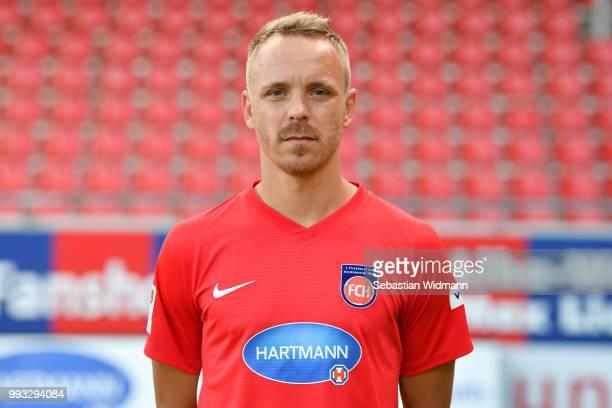 Arne Feick of 1 FC Heidenheim poses during the team presentation at VoithArena on July 6 2018 in Heidenheim Germany