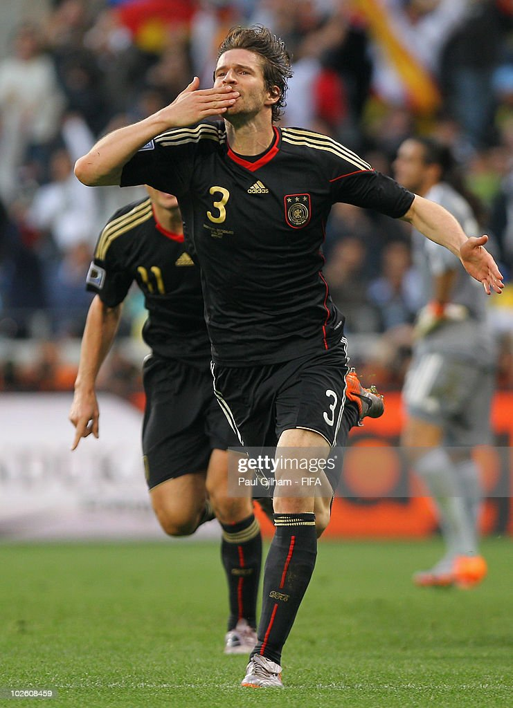 Arne Friedrich of Germany celebrates after scoring their third goal during the 2010 FIFA World Cup South Africa Quarter Final match between Argentina and Germany at Green Point Stadium on July 3, 2010 in Cape Town, South Africa.