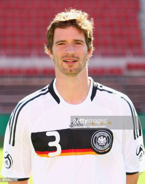 Arne Friedrich of Germany poses at the team photocall at the Son Moix stadium on May 29 2008 in Mallorca Spain