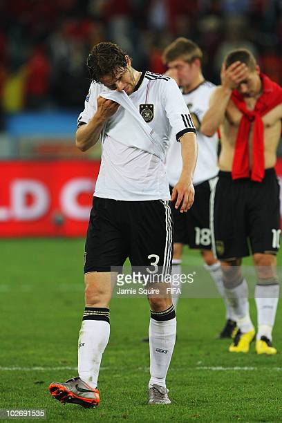 Arne Friedrich of Germany shows his dejection after the 2010 FIFA World Cup South Africa Semi Final match between Germany and Spain at Durban Stadium...