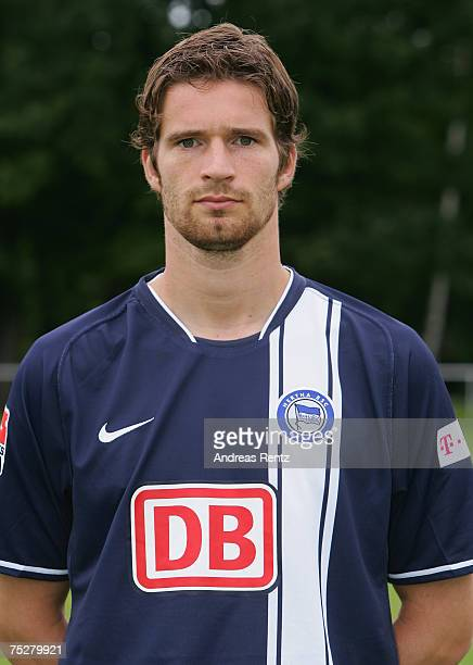 Arne Friedrich of Hertha BSC Berlin poses during the Bundesliga Team Presentation on July 6 2007 in Berlin Germany