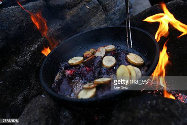 Arne Lange a 39yearold Inuit fisherman and his family cook a family seal meat barbeque August 26 2007 on an island near the village of Ilimanaq...