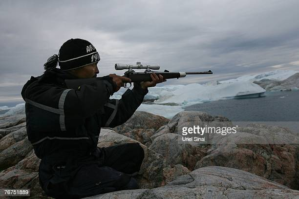 Arne Lange a 39yearold Inuit fisherman takes aim at a seal from an island August 26 2007 near his home town of Ilimanaq Greenland Lange who has...