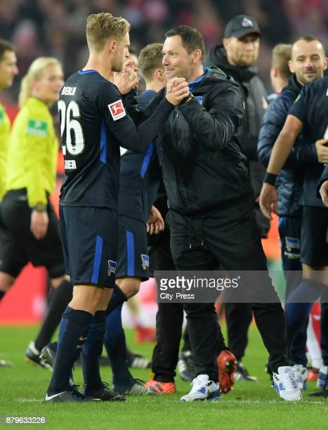 Arne Maier and coach Pal Dardai of Hertha BSC after the game between 1 FC Koeln and Hertha BSC on November 26 2017 in Koeln Germany