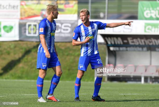Arne Maier and Fabian Lustenberger of Hertha BSC during the game between FC Liefering against Hertha BSC at the Athletic Area Schladming on August 6...
