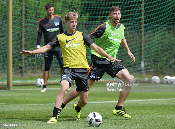 Arne Maier and Jens Hegeler of Hertha BSC during the training of Hertha BSC on july 4 2016 in Bad Saarow Germany