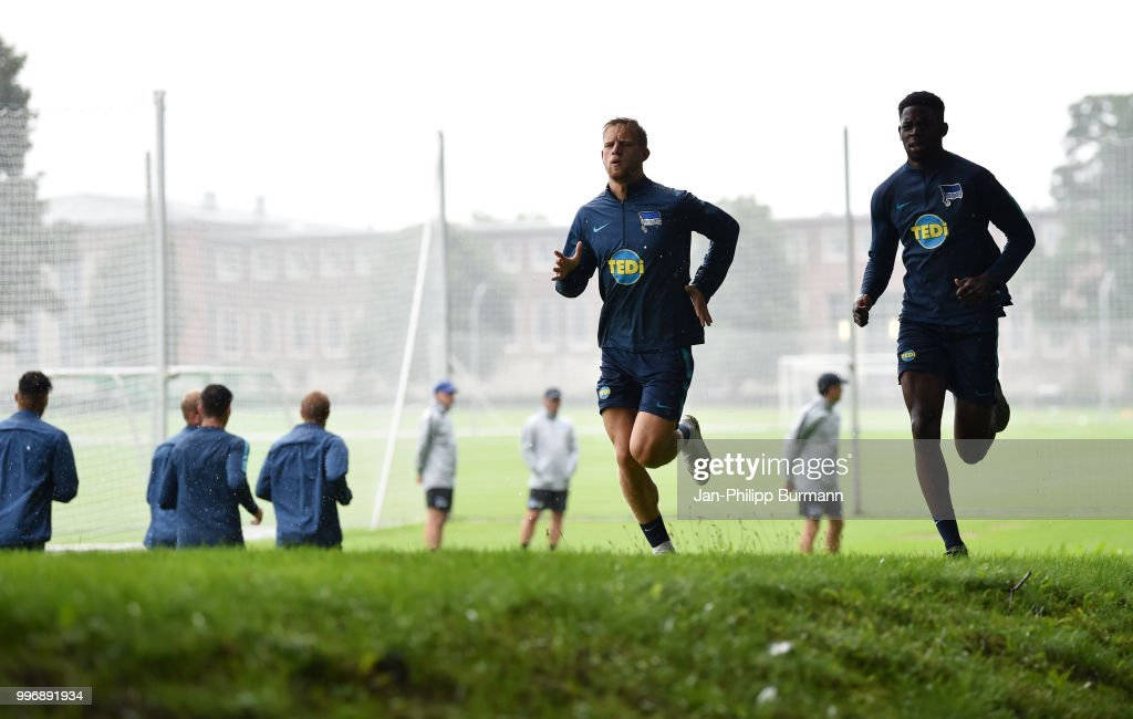 Arne Maier and Jordan Torunarigha of Hertha BSC during the training at the Schenkendorfplatz on July 12, 2018 in Berlin, Germany.
