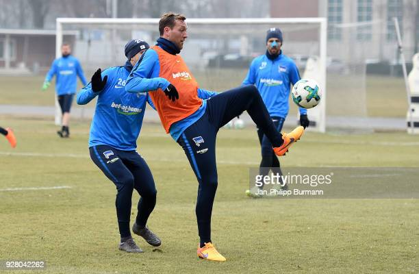 Arne Maier and Julian Schieber of Hertha BSC during the training session at the Schenkendorfplatz on march 6 2018 in Berlin Germany