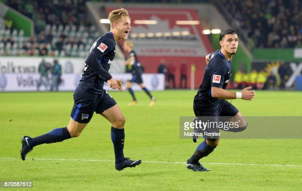 Arne Maier and Karim Rekik of Hertha BSC celebrate after scoring the 22 during the game between VfL Wolfsburg and Hertha BSC on november 5 2017 in...