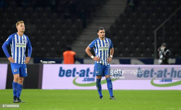 Arne Maier and Karim Rekik of Hertha BSC during the game between Hertha BSC and Borussia Moecnhengladbach on november 18 2017 in Berlin Germany