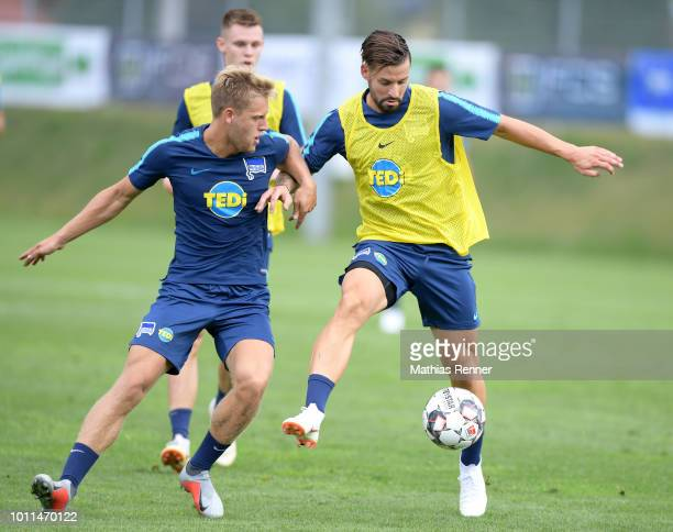 Arne Maier and Marvin Plattenhardt of Hertha BSC during the training camp on August 5 2018 in Schladming Austria