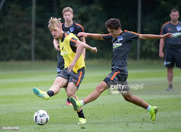 Arne Maier and Maurice Covic of Hertha BSC during the training of Hertha BSC on july 4 2016 in Bad Saarow Germany