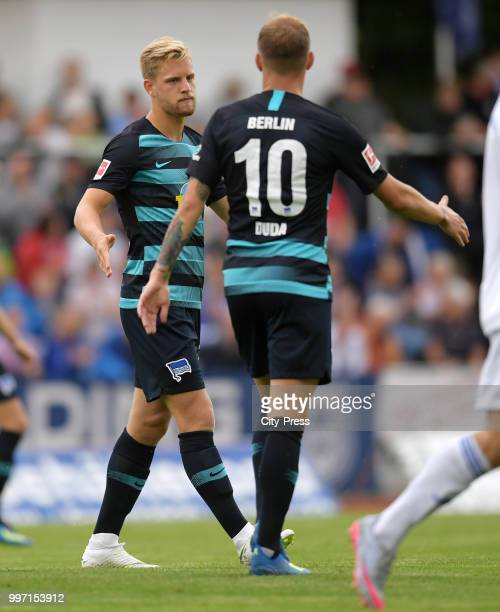 Arne Maier and Ondrej Duda of Hertha BSC celebrate after scoring the 02 during the game between MSV Neuruppin against Hertha BSC at the...