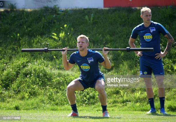 Arne Maier and Ondrej Duda of Hertha BSC during the training camp on august 8 2018 in Schladming Austria