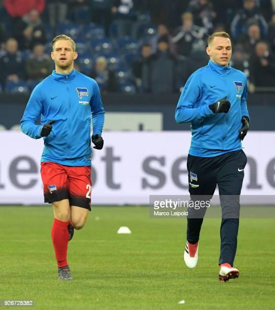 Arne Maier and Ondrej Duda of Hertha BSC warmup before the first Bundesliga match between Schalke 04 against Hertha BSC at the VeltinsArena on March...