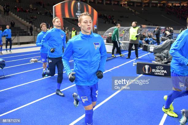 Arne Maier and Palko Dardai of Hertha BSC before the Uefa Europa League Group J match between Hertha BSC and Oestersunds FK on December 7 2017 in...