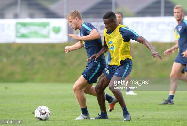 Arne Maier and Salomon Kalou of Hertha BSC during the training camp on August 5 2018 in Schladming Austria