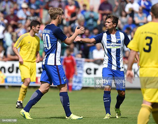 Arne Maier and Valentin Stocker of Hertha BSC during the training match between FC Schwedt 02 and Hertha BSC on july 3 2016 in Berlin Germany