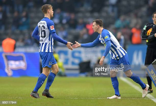 Arne Maier and Vladimir Darida of Hertha BSC during the Bundesliga match between Hertha BSC and SC Freiburg at Olympiastadion on March 10 2018 in...