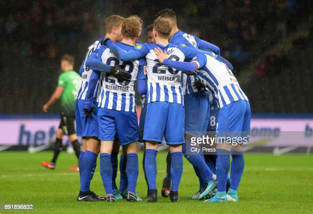 Arne Maier Fabian Lustenberger Niklas Stark Mitchell Weiser Davie Selke and Peter Pekarik of Hertha BSC celebrate after scoring the 10 during the...