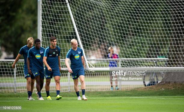 Arne Maier Javairo Dilrosun Muhammed Kiprit and Dennis Jastrzembski of Hertha BSC during the training at Schenkendorfplatz on August 13 2018 in...