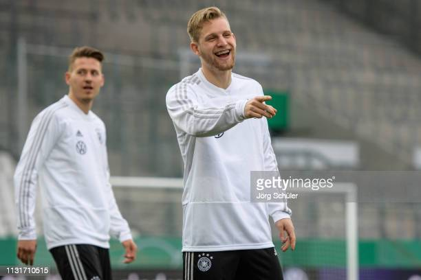 Arne Maier laughing during the U21 training session of Germany at Stadion Essen on March 20 2019 in Essen Germany