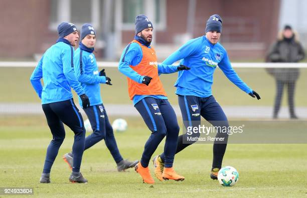 Arne Maier Maurice Covic Marvin Plattenhardt and Florian Baak of Hertha BSC during a training session at Schenkendorfplatz on February 27 2018 in...