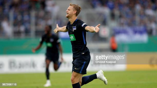 Arne Maier of Berlin celebrates the third goal during the German A Juniors Championship Final between FC Schalke 04 U19 and Hertha BSC Berlin U19 at...