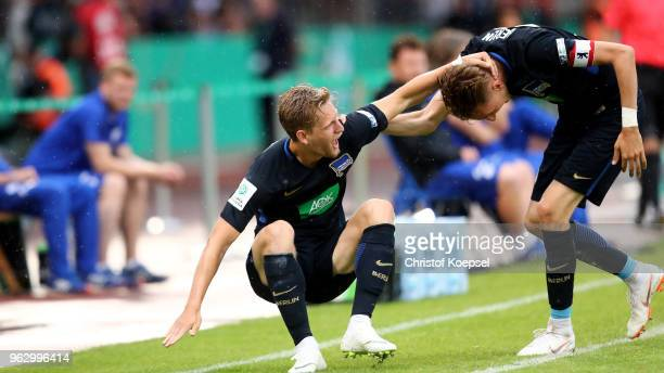 Arne Maier of Berlin celebrates the third goal with Floriabn Krebs of Berlin of Schalke shows his frustration during the German A Juniors...