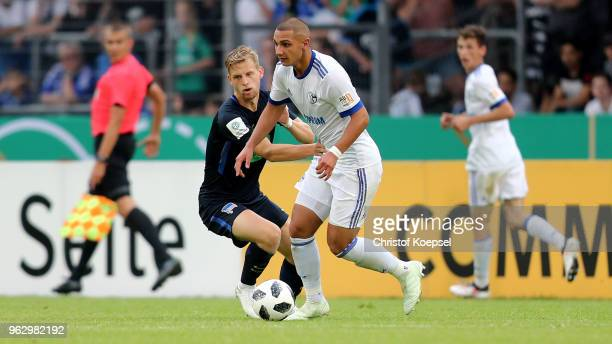 Arne Maier of Berlin challenges Ahmed Kutucu of Schalke during the German A Juniors Championship Final between FC Schalke 04 U19 and Hertha BSC...
