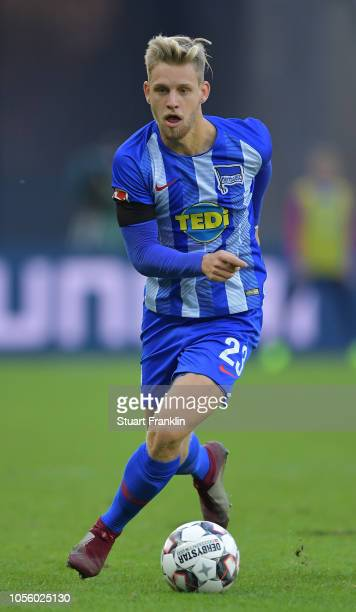 Arne Maier of Berlin in action during the Bundesliga match between Hertha BSC and SportClub Freiburg at Olympiastadion on October 21 2018 in Berlin...