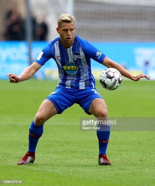 Arne Maier of Berlin runs with the ball during the Bundesliga match between Hertha BSC and Borussia Moenchengladbach at Olympiastadion on September...