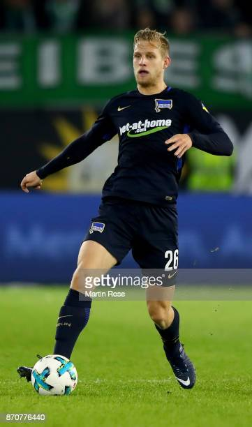 Arne Maier of Berlin runs with the ball during the Bundesliga match between VfL Wolfsburg and Hertha BSC at Volkswagen Arena on November 5 2017 in...